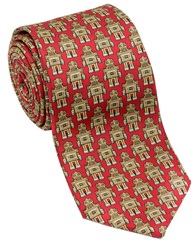 "100% Silk Tie made in NY ""Robots"""