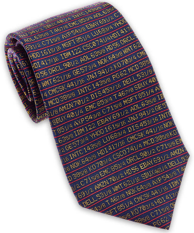 "100% Silk Tie made in NY ""Stock Ticker"""