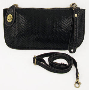 Vegan Wristlet/Crossbody Python Black