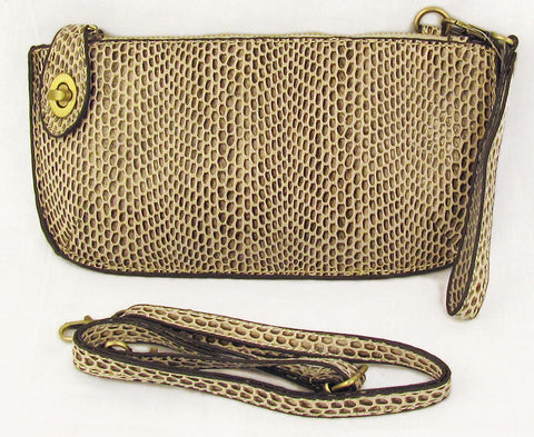 Vegan Wristlet/Crossbody Python Natural