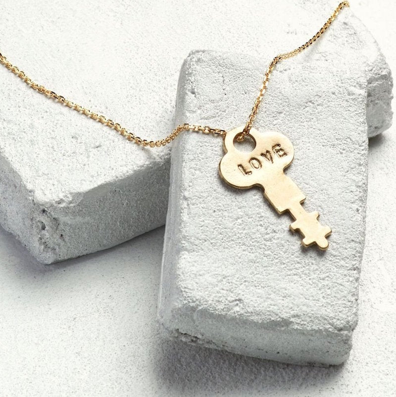 Dainty Key Necklace - Love