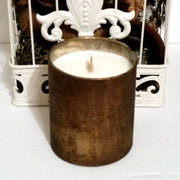XXX - Brandy & Billiards - Brown & Gold Marble - Glass - Wooden Wick Candle