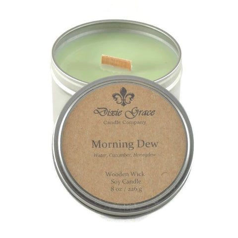 Morning Dew - Tin - Wooden Wick Candle