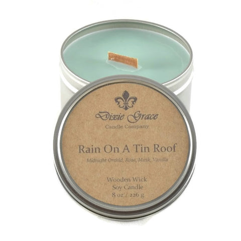 Rain On A Tin Roof - Tin - Wooden Wick Candle
