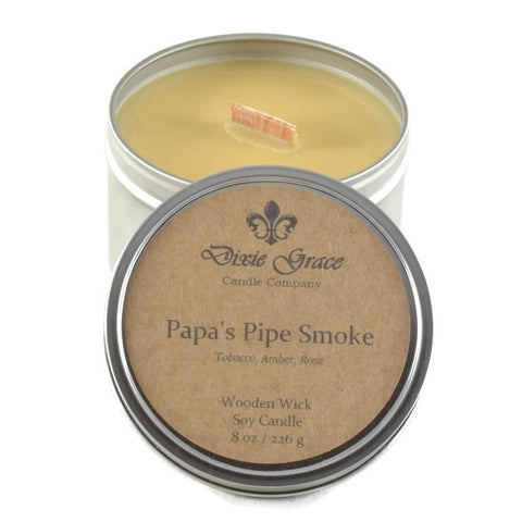 Papa's Pipe Smoke - Tin - Wooden Wick Candle