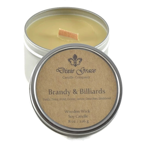 Brandy & Billiards - Tin - Wooden Wick Candle