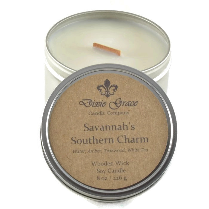 Savannah's Southern Charm - Tin - Wooden Wick Candle