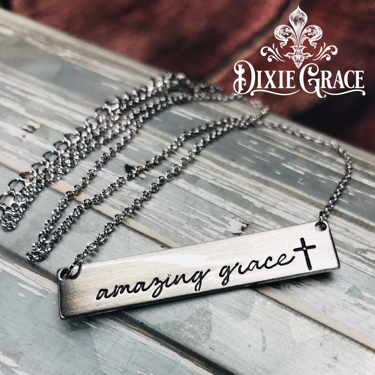 Necklace - Amazing Grace Bar in Silver