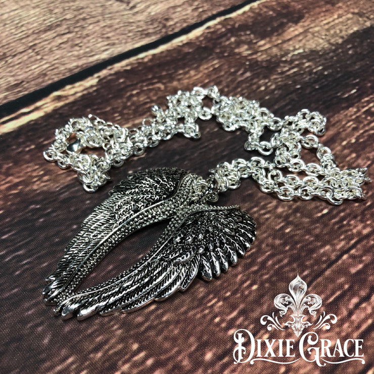 Necklace - Wrapped in Angel Wings in Silver