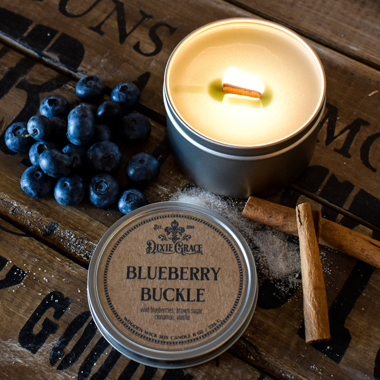 Blueberry Buckle - Tin - Wooden Wick Candle