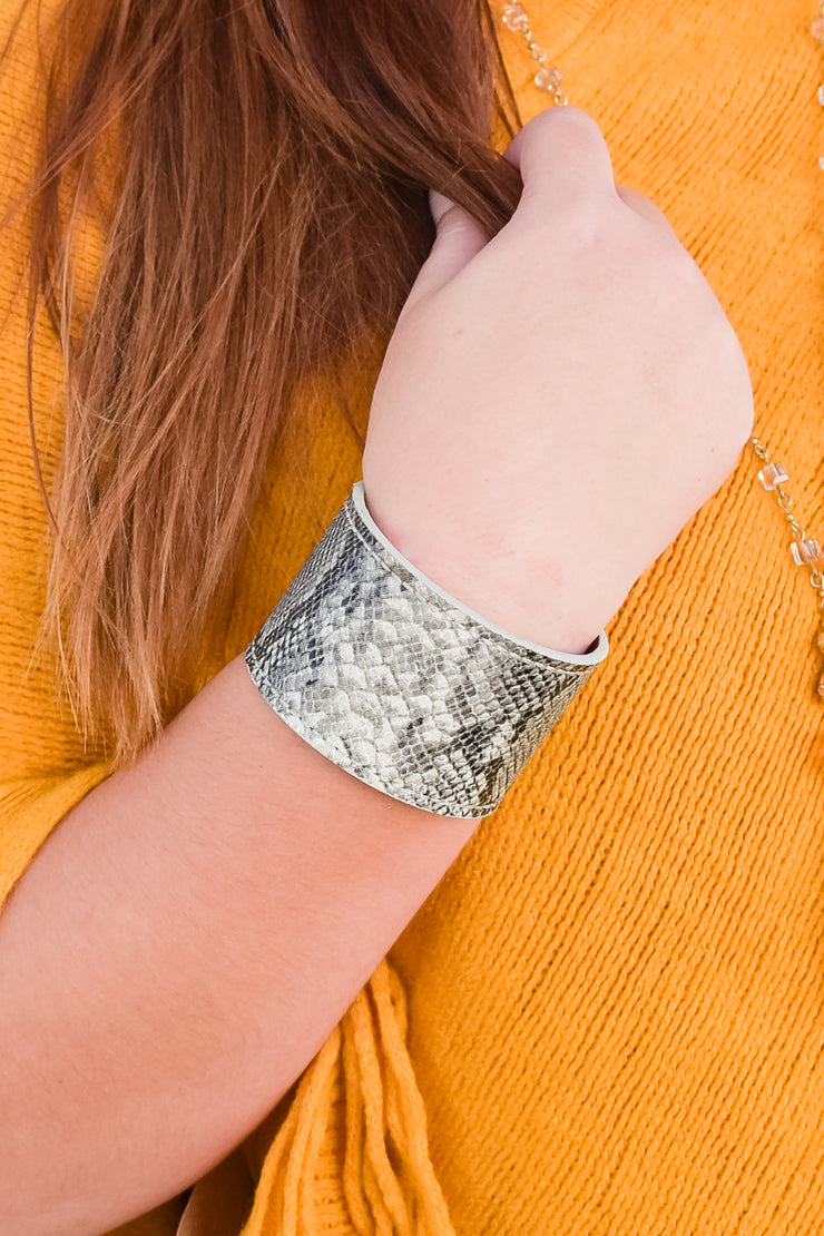 Bracelet - Somethin' Bad - Grey Snakeskin Leather Cuff
