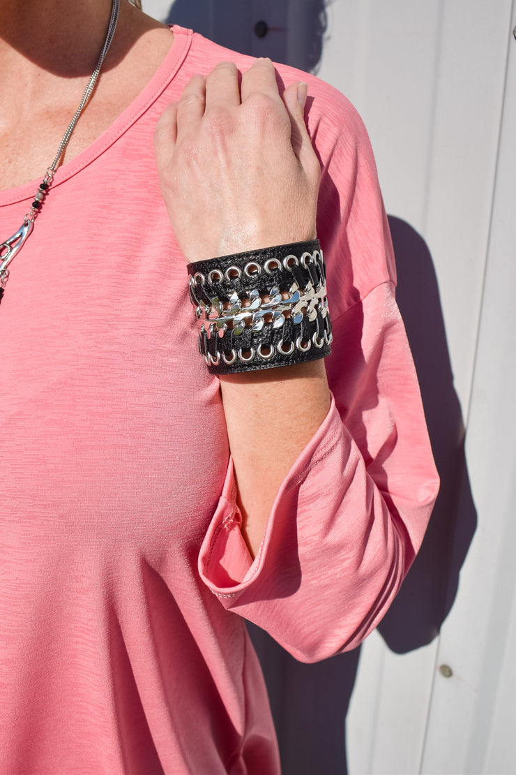Bracelet - Midnight Rider - Black Leather Chain Cuff