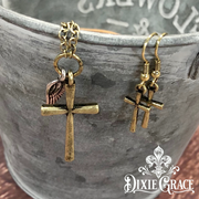 XXX - Necklace & Earrings Set - Cross with Wing Charm in Antique Gold