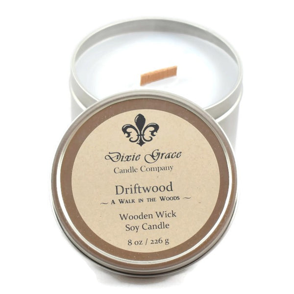 Driftwood - Tin - Wooden Wick Candle