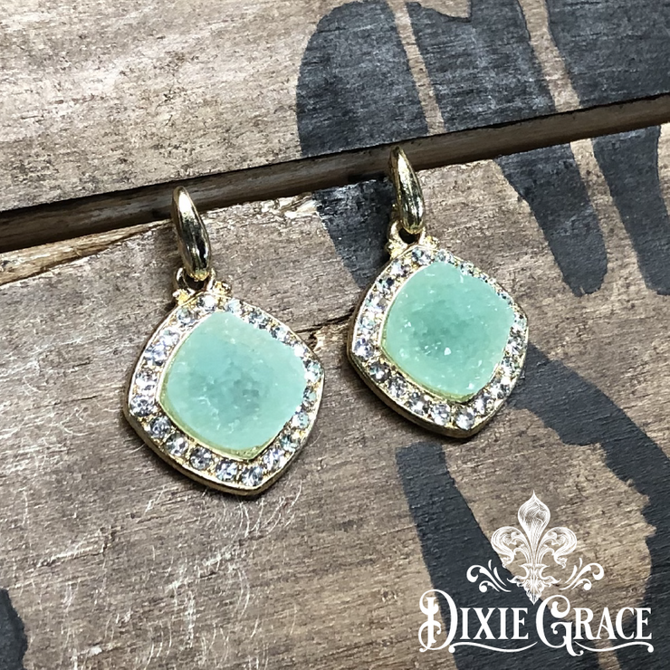 Earrings - Mint Sparkles in Gold - On Sale!
