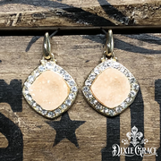 xxx - Earrings - Peach Sparkles in Gold - On Sale!