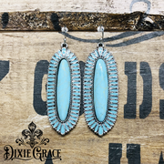 Earrings - Turquoise Shields in Silver