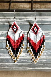 Earrings - Valor - Seed Bead - Red/Black/White