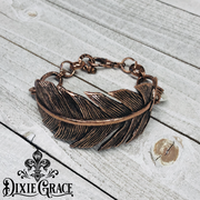 Bracelet - A Ruffled Feather in Antiqued Copper