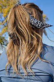 Snow Down - Hair Scarf Scrunchie - Black Leopard w/ Grey Stripes