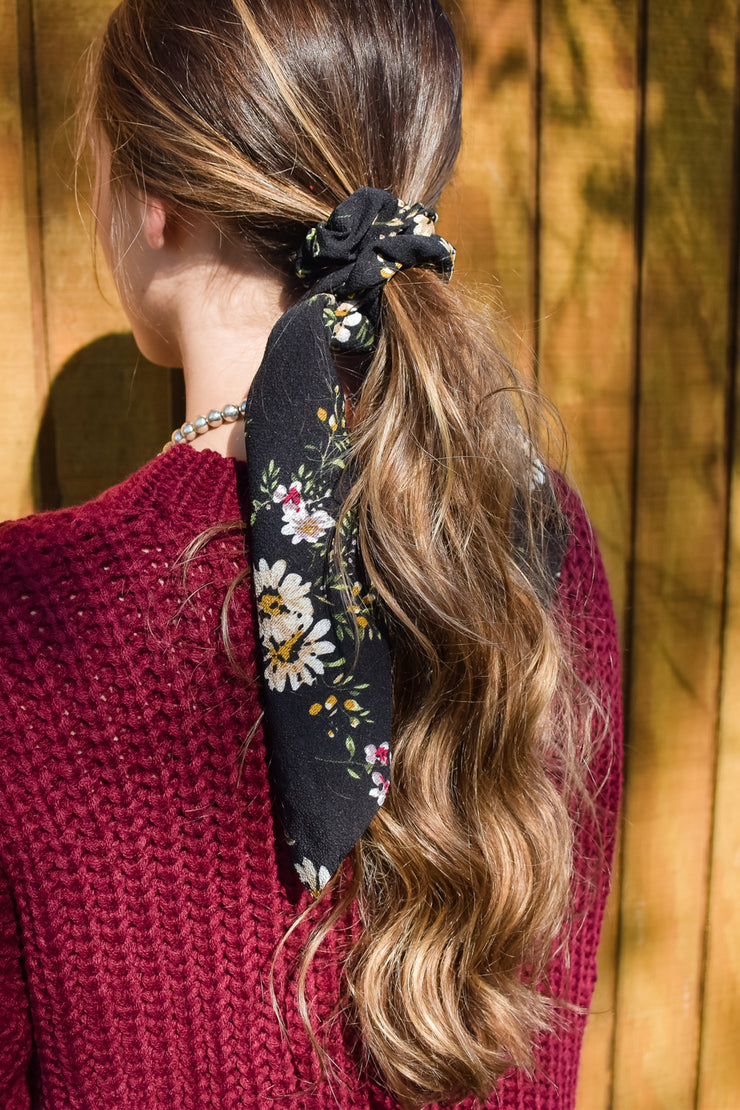 Charlotte - Hair Scarf Scrunchie - Black Floral