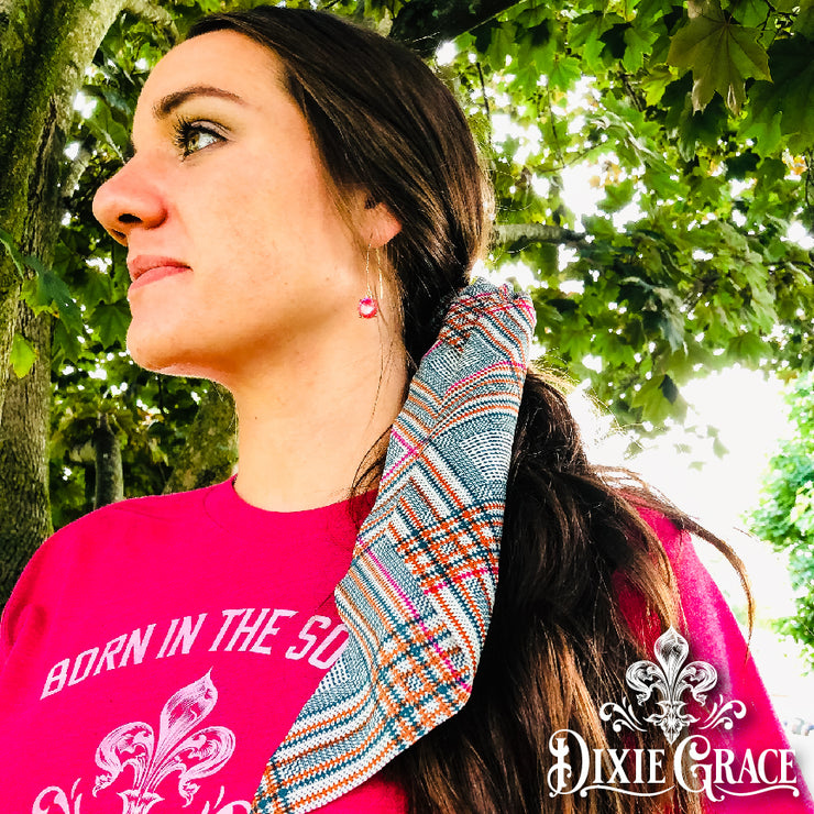 Hair Scarf Scrunchie - Hunter Green/Rust/Pink Plaid