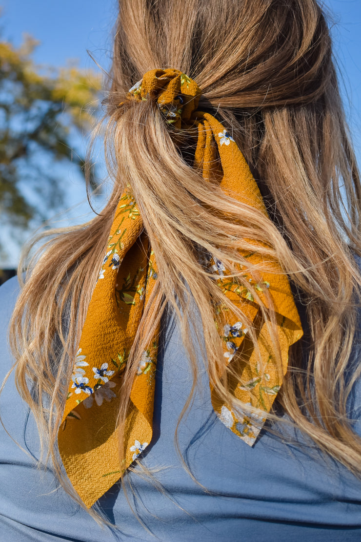 Time to Kill - Hair Scarf Scrunchie - Mustard Floral