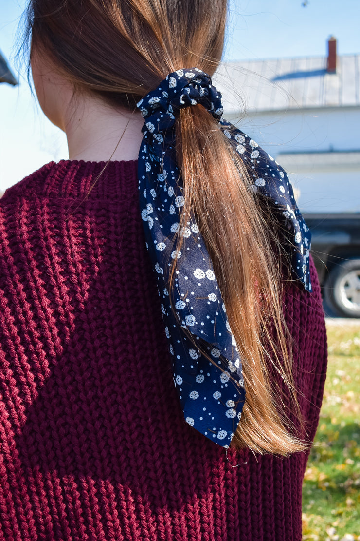 You're in the Navy - Hair Scarf Scrunchie - Navy Dandelions
