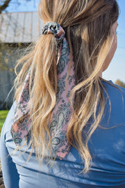 Pretty in Pink Paisley - Hair Scarf Scrunchie - Blush Pink Paisley