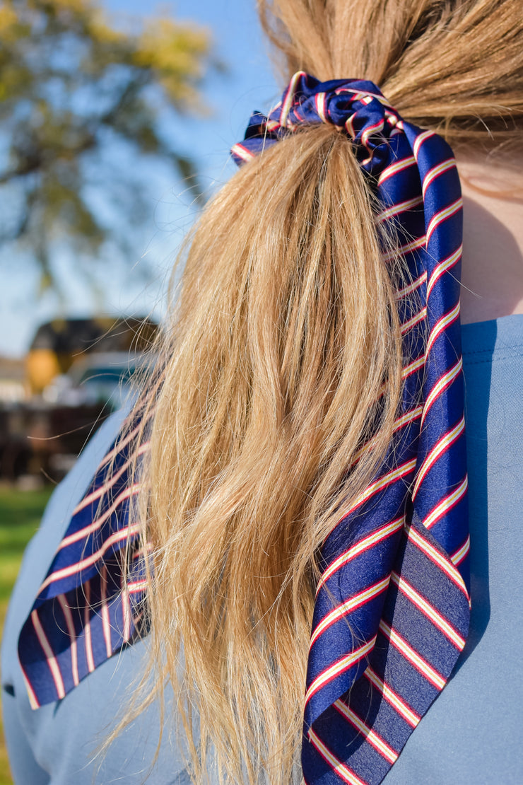 Pay the Man - Hair Scarf Scrunchie - Royal Blue Red Stripe