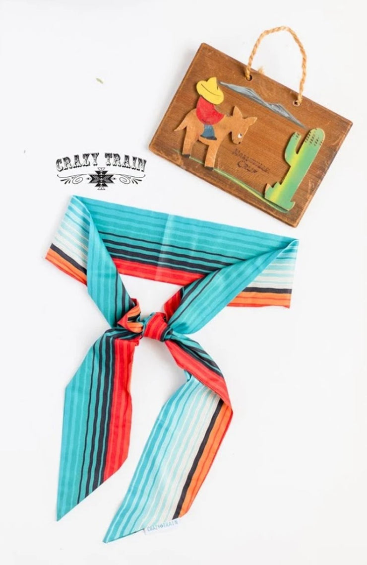 Horizon - Orange & Turquoise Striped Print - Hair Scarf
