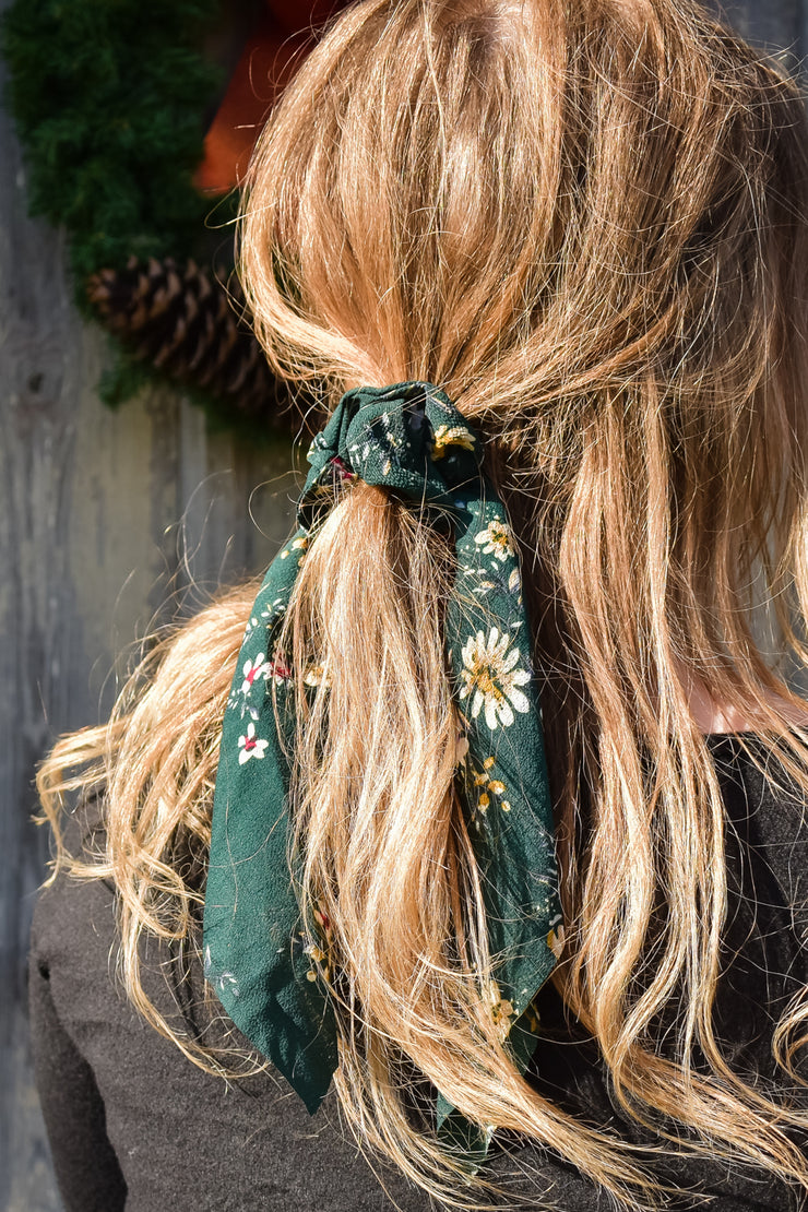 Georgia - Hair Scarf Scrunchie - Hunter Green Floral