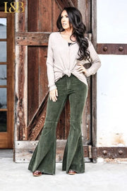 Add a Lil' Flare - Corduroy Flare Jean Pants - Olive