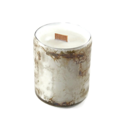 Milk Bath - White & Bronze Marble - Glass - Wooden Wick Candle