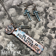 Necklace & Earrings Set - Bulletproof Faith in Rose Gold/Sky Blue Patina