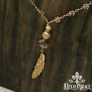 Necklace - Champagne & Feathers in Gold