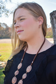 Necklace & Earrings Set - Copperline - Conchos & Leather