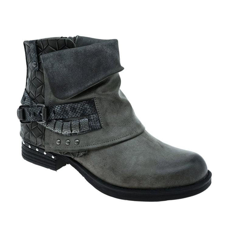 Gravel Road - Faux Leather Booties - Vintage Gray