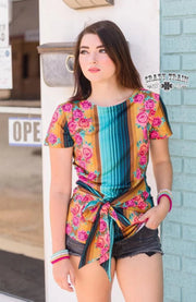 Pretty Party Bow Tie - Top - Serape/Floral