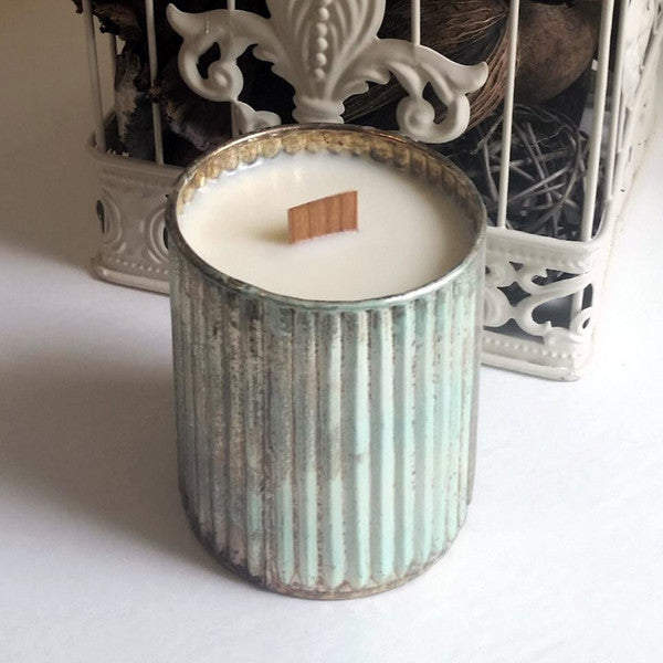 Rain On A Tin Roof - Mint & Copper - Glass - Wooden Wick Candle