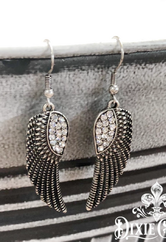 Earrings - Rhinestone Wings in Aged Silver