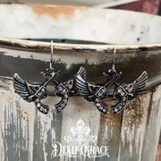 Earrings - Pistols & Wings in Silver