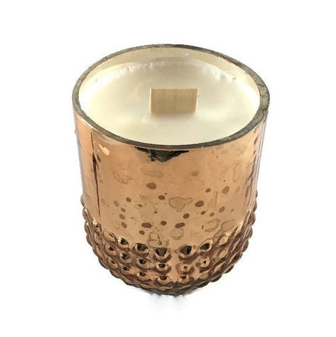 Savannah's Southern Charm - Rose Gold Hobnail - Glass - Wooden Wick Candle
