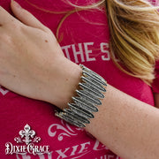 Bracelet - Feather Stacks - Antique Silver