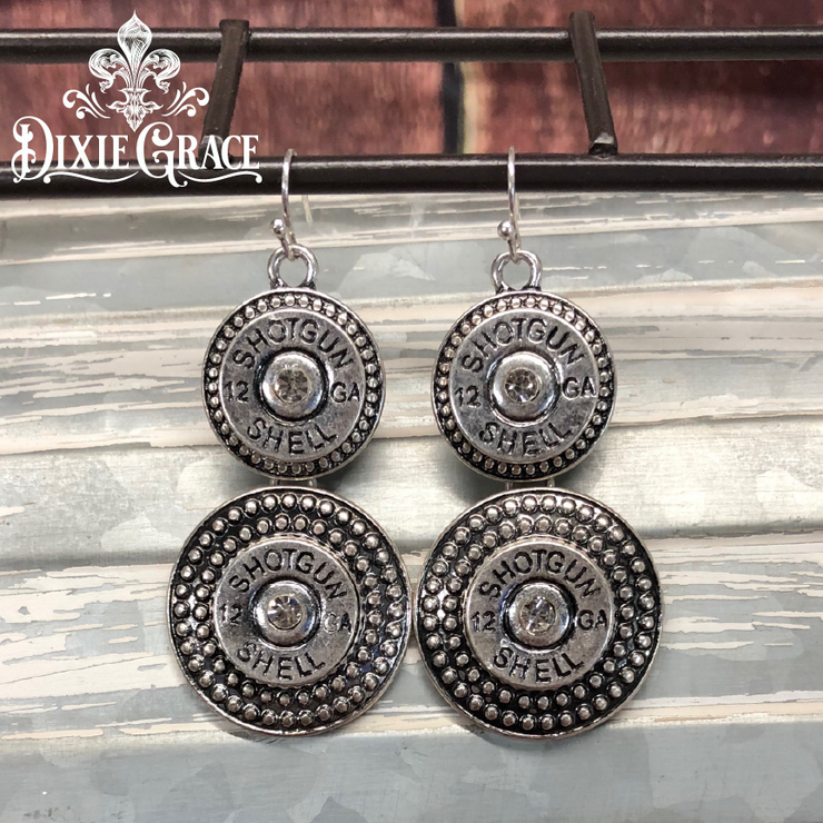 Earrings - Double Barrel in Silver