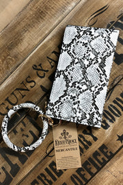 Whitesnake - Wristlet Clutch w/ Bangle - Snakeskin White