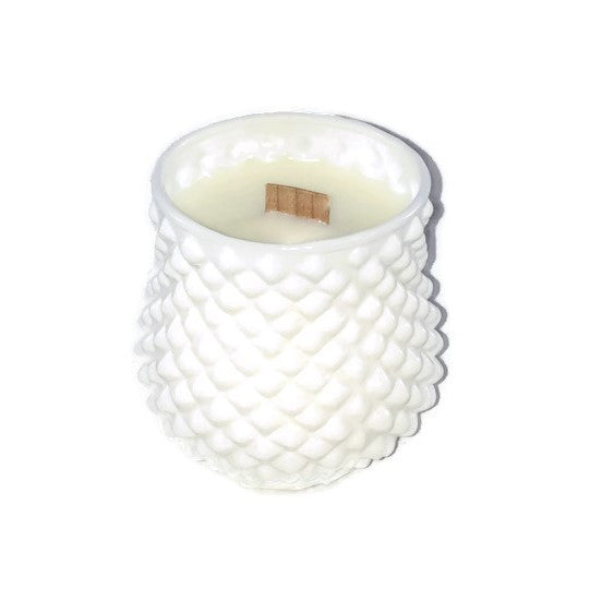 Sweet Dreams - Ruby Cut Milk Glass - Glass - Wooden Wick Candle