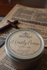 A Lonely Amen - Tin - Wooden Wick Candle