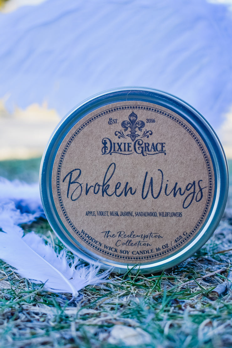 Broken Wings - Tin - Wooden Wick Candle