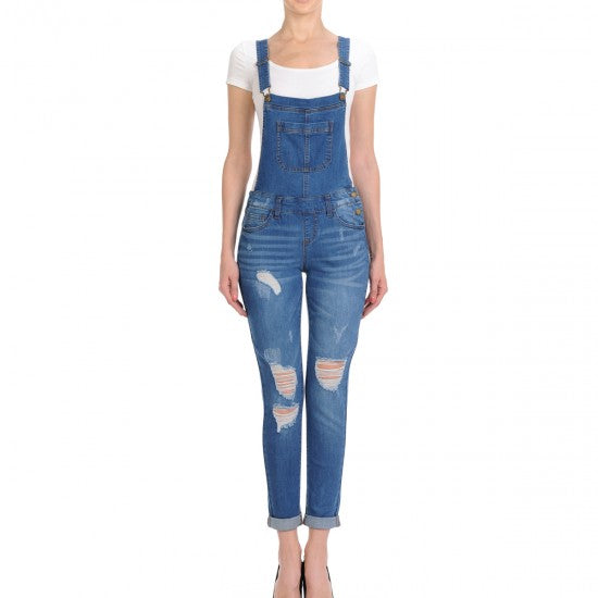 This Country Girl - Distressed Skinny Overalls - Medium Wash